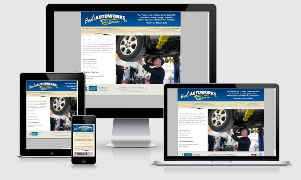 Brent's Autoworks website on different screen sizes
