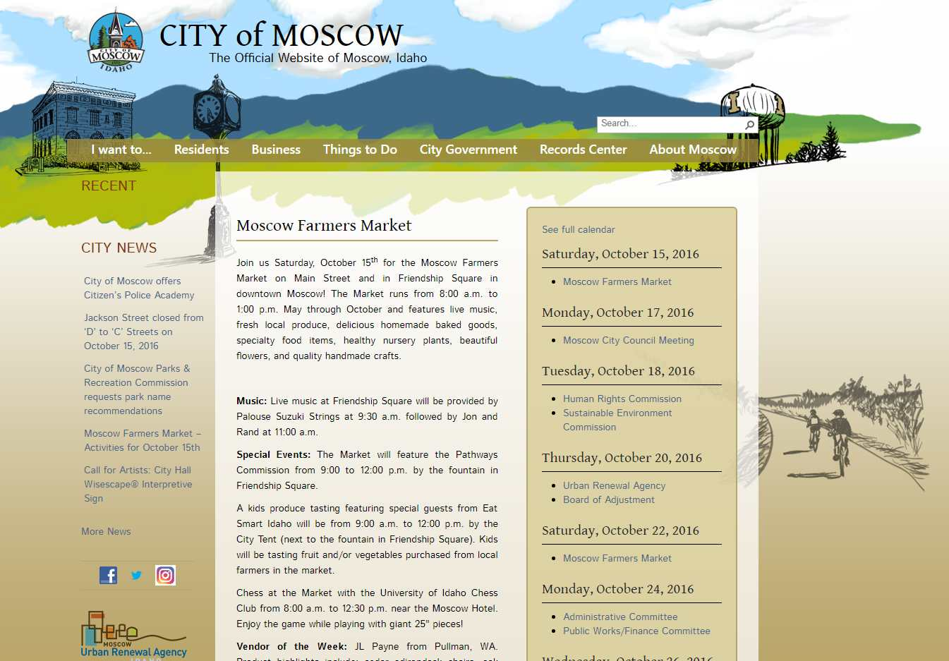 City of Moscow website graphics