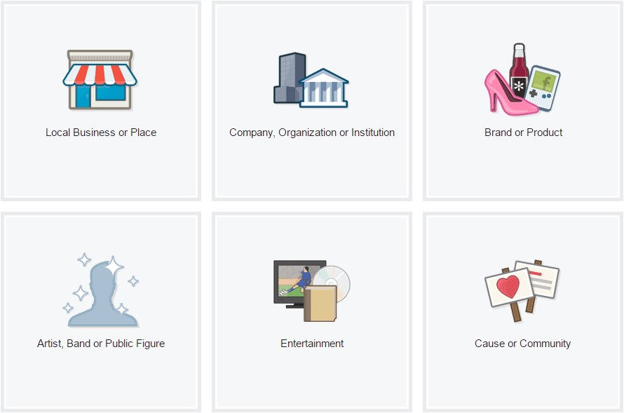 Categories for Facebook pages