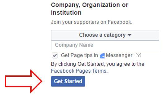 Get started button illustration in Facebook
