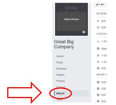 Where to click the About tab in Facebook