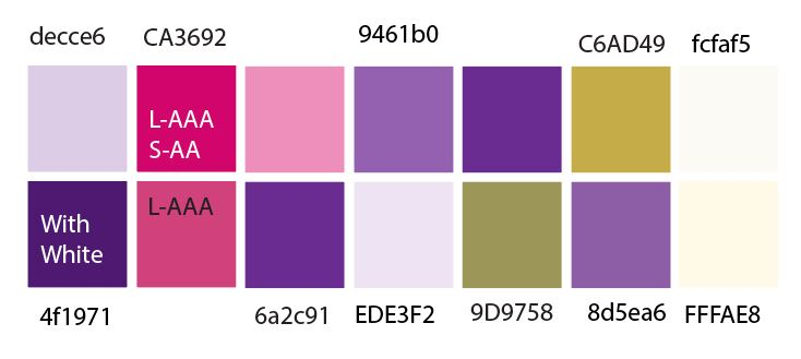 color chart showing swatches of pinks, purples, greens and golds with their hexidecimal color values
